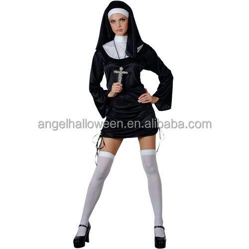 New Sexy Naughty Nun Ladies Fancy Dress Halloween Costume AGC4265