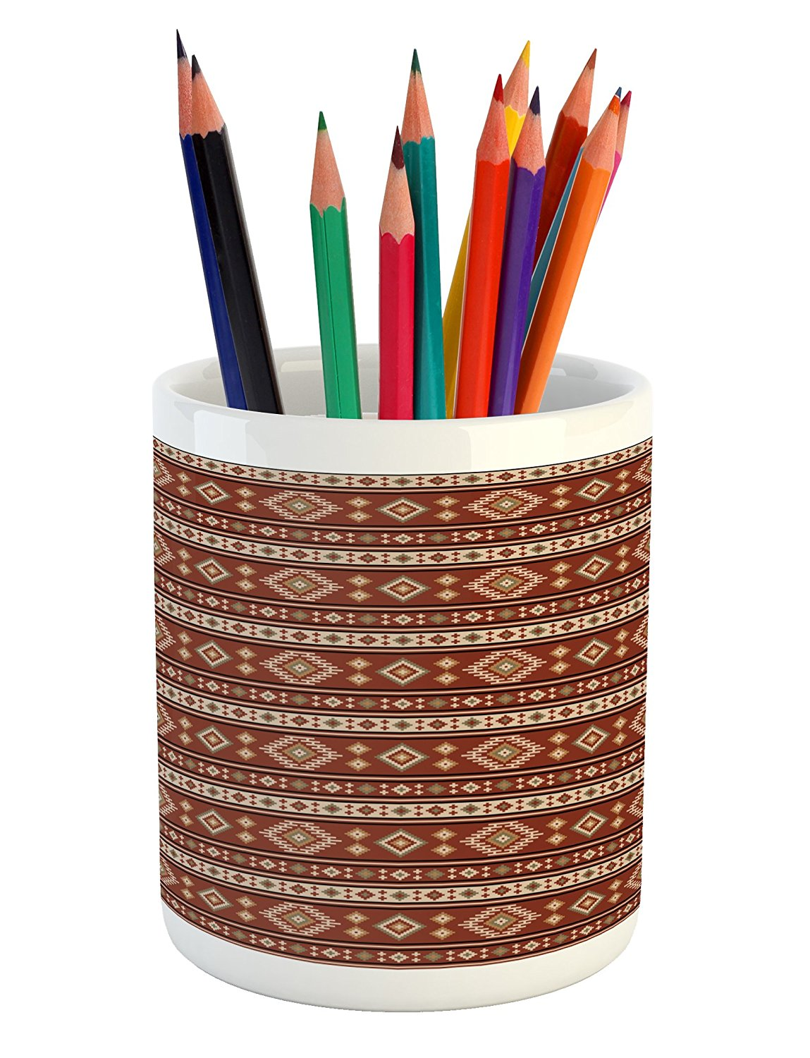 Ambesonne Afghan Pencil Pen Holder, Timeless Rhombuses with Stripes Pattern in Earthy Colors Classical Motifs Design, Printed Ceramic Pencil Pen Holder for Desk Office Accessory, Multicolor