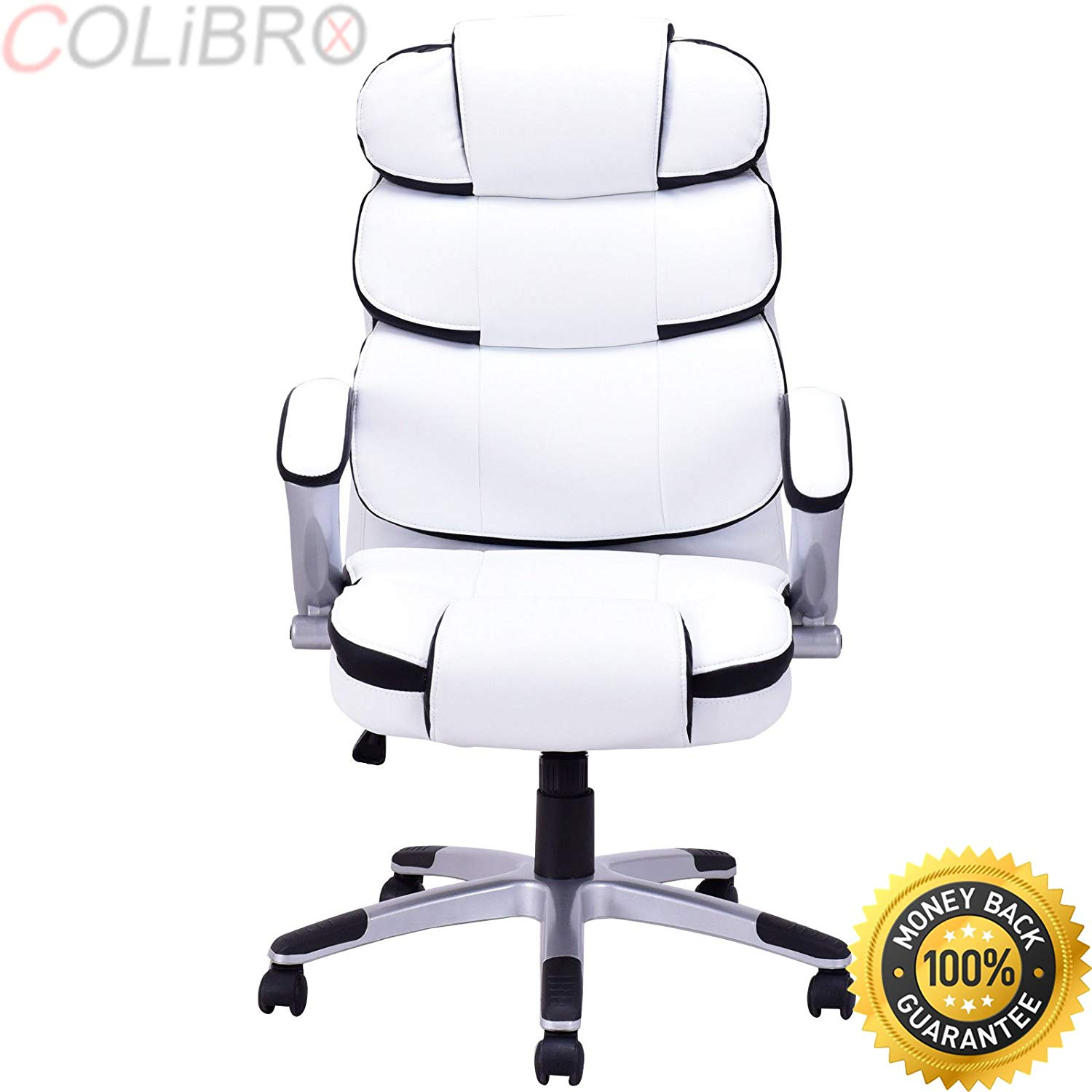 COLIBROX--New Ergonomic PU Leather High Back Executive Computer Desk Task Office Chair. ergonomic pu leather high back executive computer desk task office chair black. high back leather office chair.