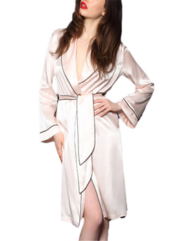 6fd407f815 Wholesale Oem Graceful Women s Sexy Light Pink Satin Piped Robe ...