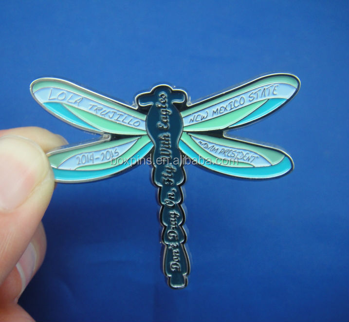 3d dragonfly shape soft enamel animal metal pin for kids