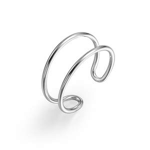 Simple Two Line Open Plain Geometry Open Adjustment Ring S925 Sterling Silver Eternity Ring for Woman and Man