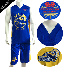 Kunden sublimation dry fit team <span class=keywords><strong>basketball</strong></span> uniform design farbe blau