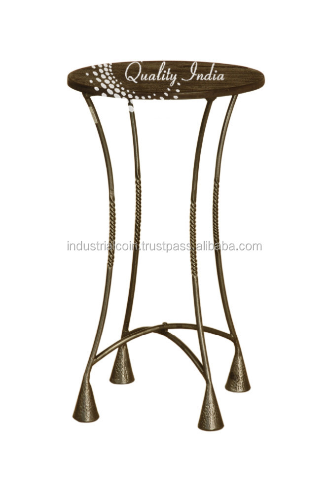 Metallic Black Color Thin Legs Small Side Table