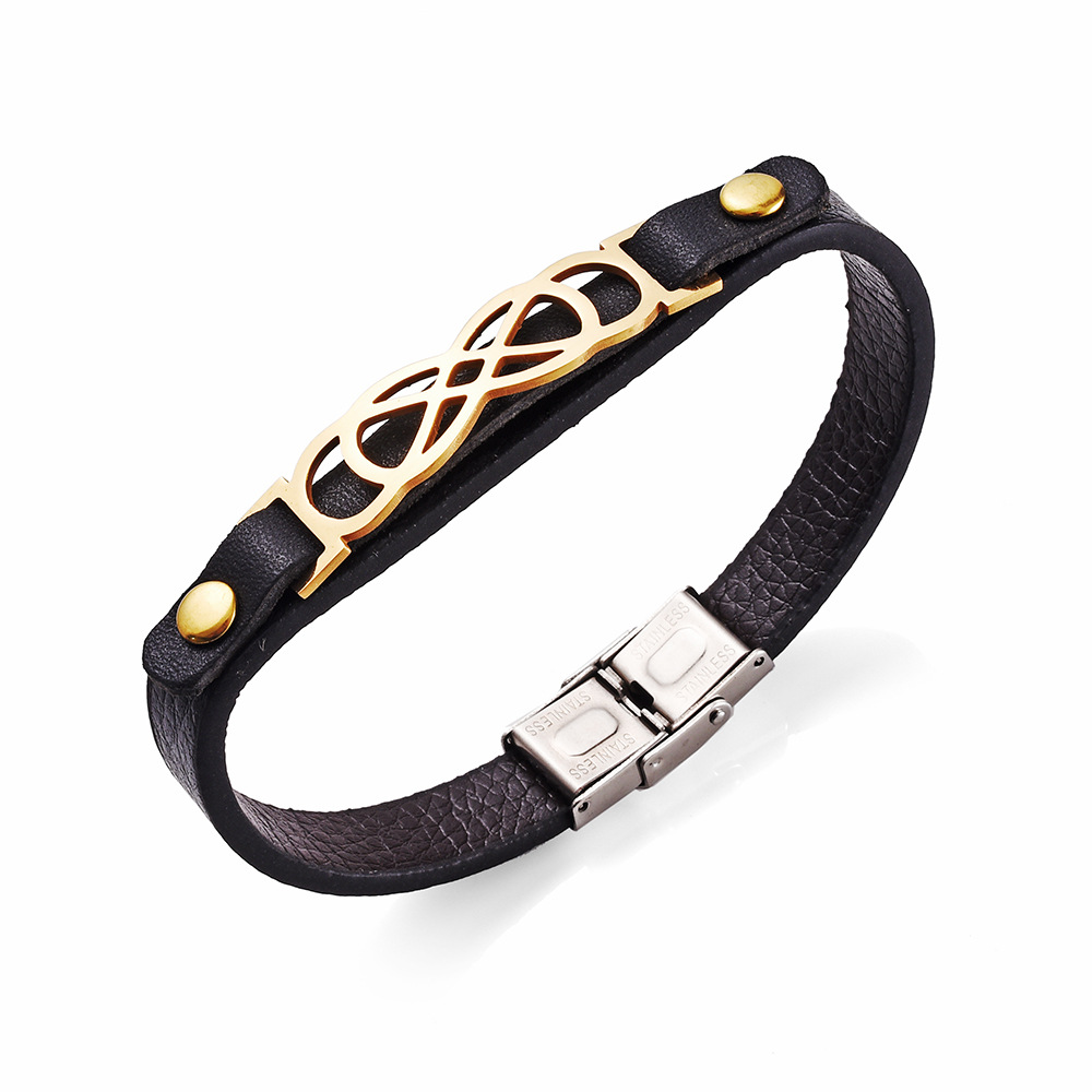 Classical stainless steel genuine Leather geometric bracelets