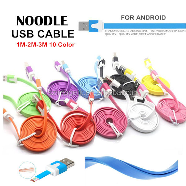 Private label 5pin micro usb cable, usb data noodle colorful for Android