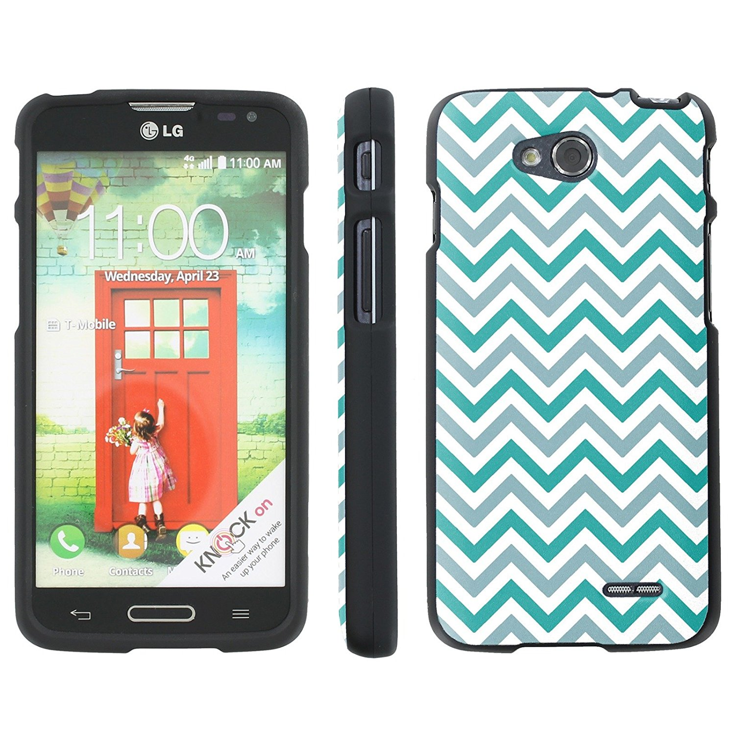 Mobiflare Slim Guard Armor Design Case for [LG Optimus L90 D415] - Chevron Mint and Gray