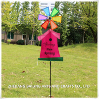 nylon and plastic letter printed bird house yard decoration windmills