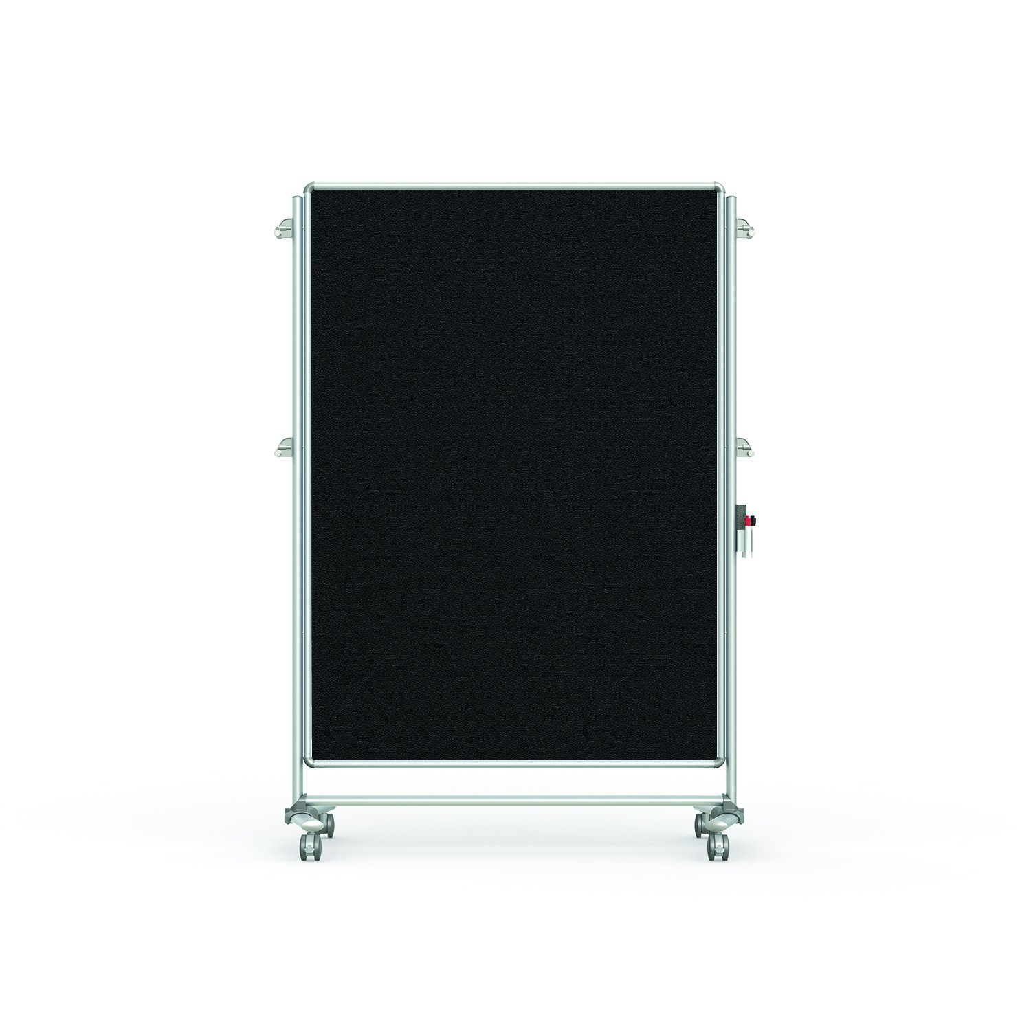 """Ghent 76-1/8"""" x 52-3/8"""" Nexus Partition Mobile Fabric Bulletin Board, Double-Sided, Black (NEX224FFP-95)"""