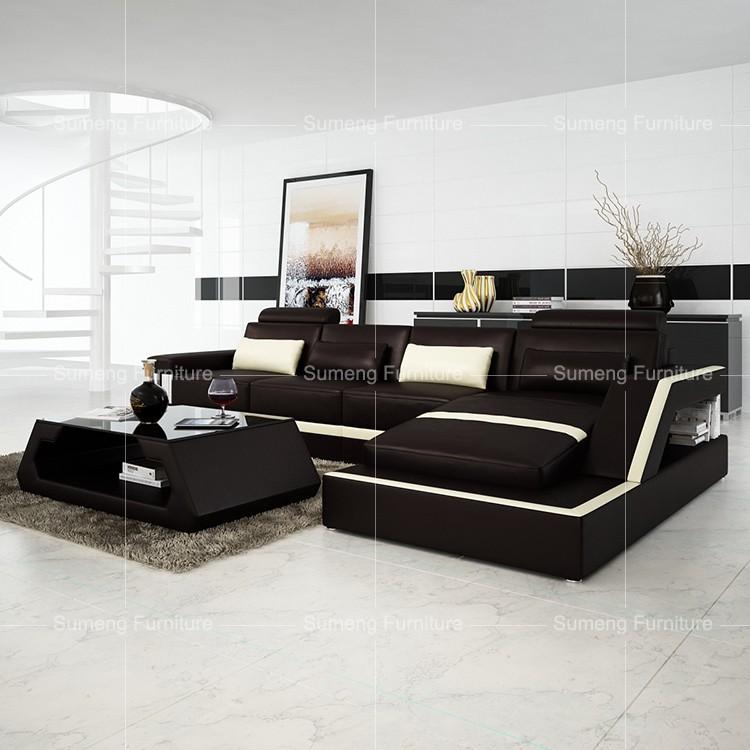 Sumeng Salón Europeo Muebles De Cuero Sofá En Forma L Con Sillones Reclinables