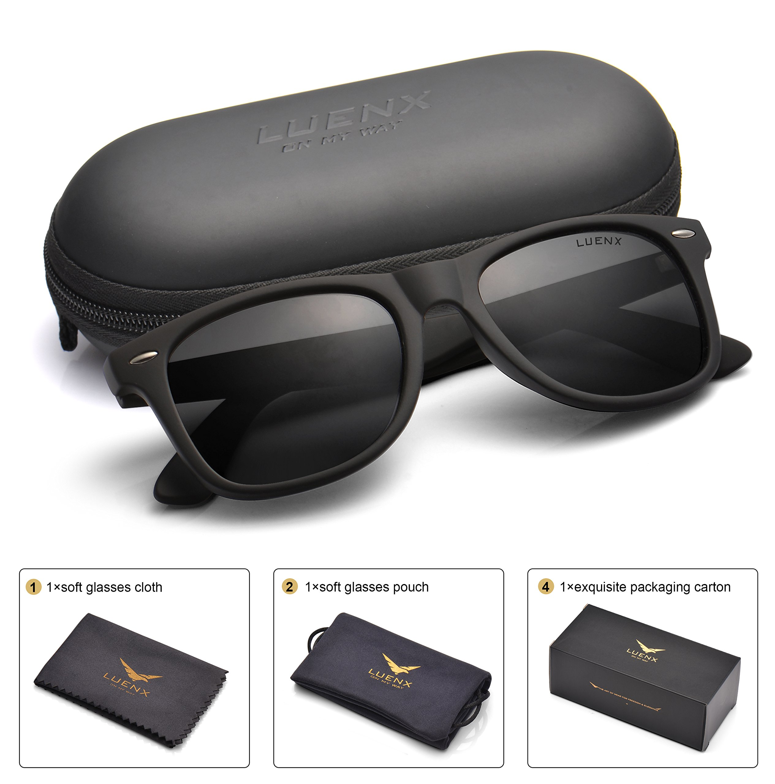 5936c6362139 Get Quotations · Mens Wayfarer Sunglasses Polarized Womens: UV 400  Protection,by LUENX with Case