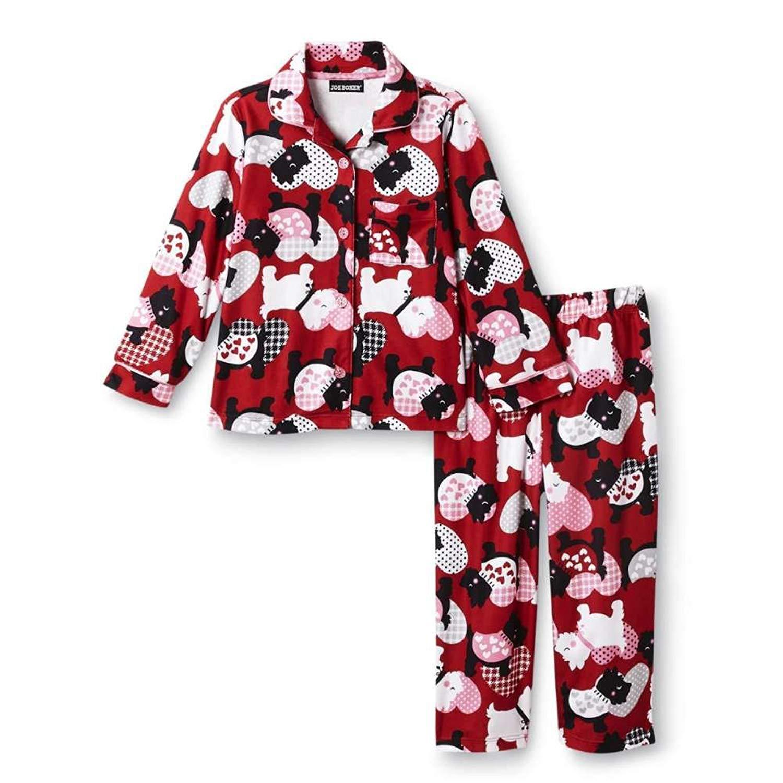 Buy Joe Boxer Toddler Girls Red Flannel Sleepwear Set Terrier Dog ...