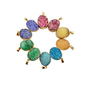 Round And Oval Shape Gold Plated Bezel Colorful Crystal Cluster Druzy Pendant Charm