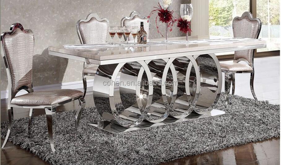 gro handel hei er verkauf m bel edelstahl marmor top luxus esstisch ah062 metalltisch produkt id. Black Bedroom Furniture Sets. Home Design Ideas