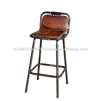 Vintage Heighted Leather Seat Bar Stool