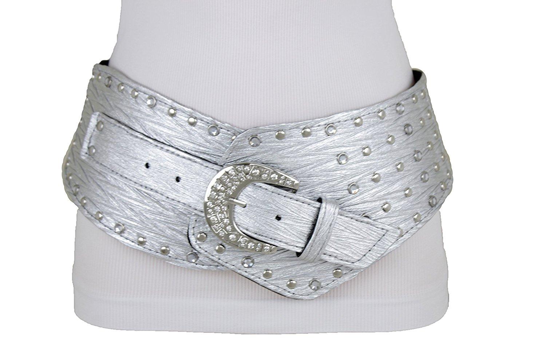 TFJ Women Wide Faux Leather Western Fashion Yellow Gold Belt Hip Bling Buckle XL