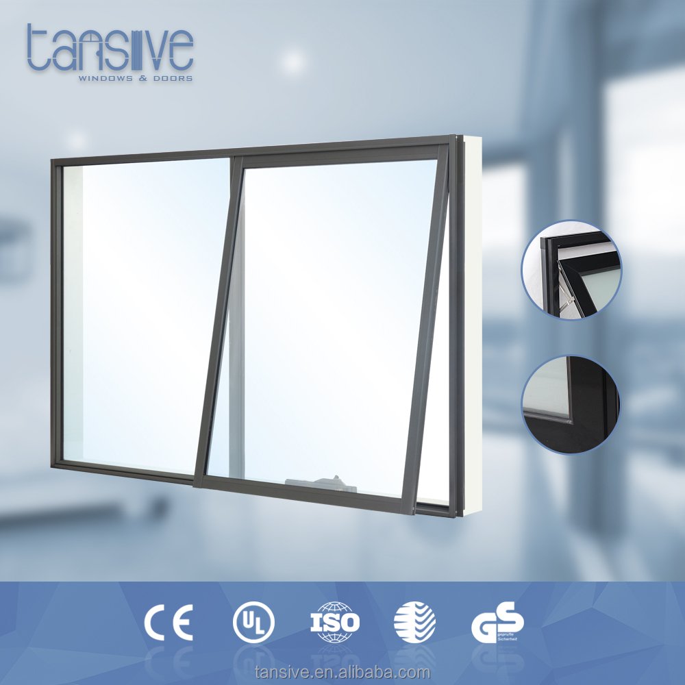 aluminum frame double pane lowe glass wind out chain winder awning window