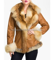 Sheepskin Leather Coat with Fox Fur Trim AP-1402