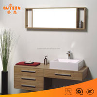Queen-bath 36 inch white cheap single bathroom vanity top with square marble sink mirror