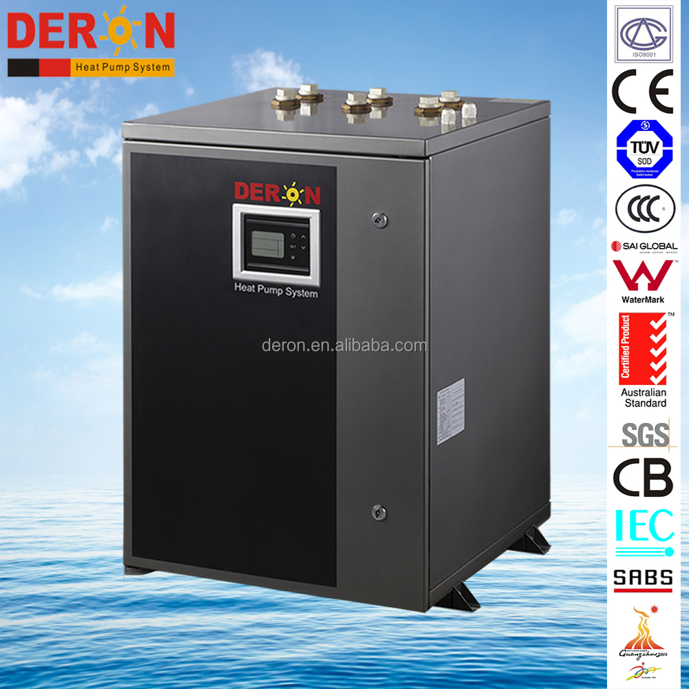Ground geothermal heat pump air conditioner supply hot water for bath/ Spa/ sauna and house heating cooling, DC inverter version