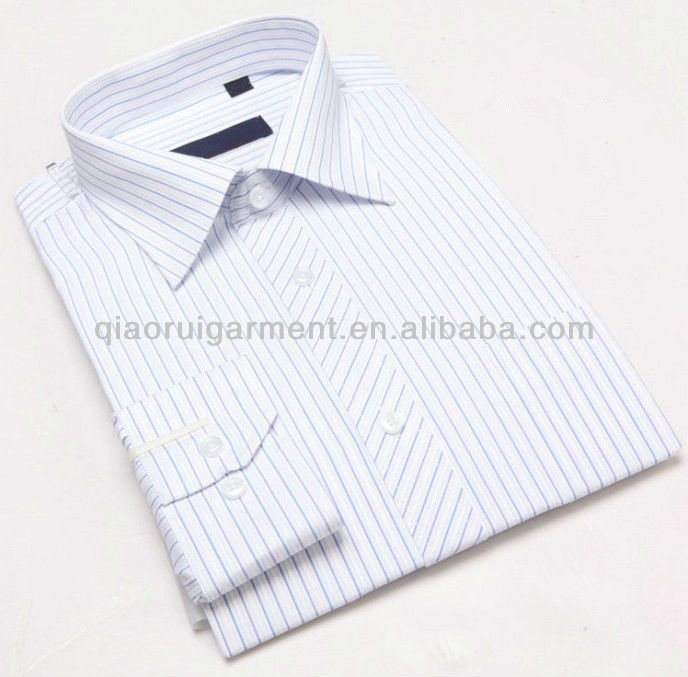 Elegant long sleeve striped comfortable career apparel/business dress shirts for men with one pocket