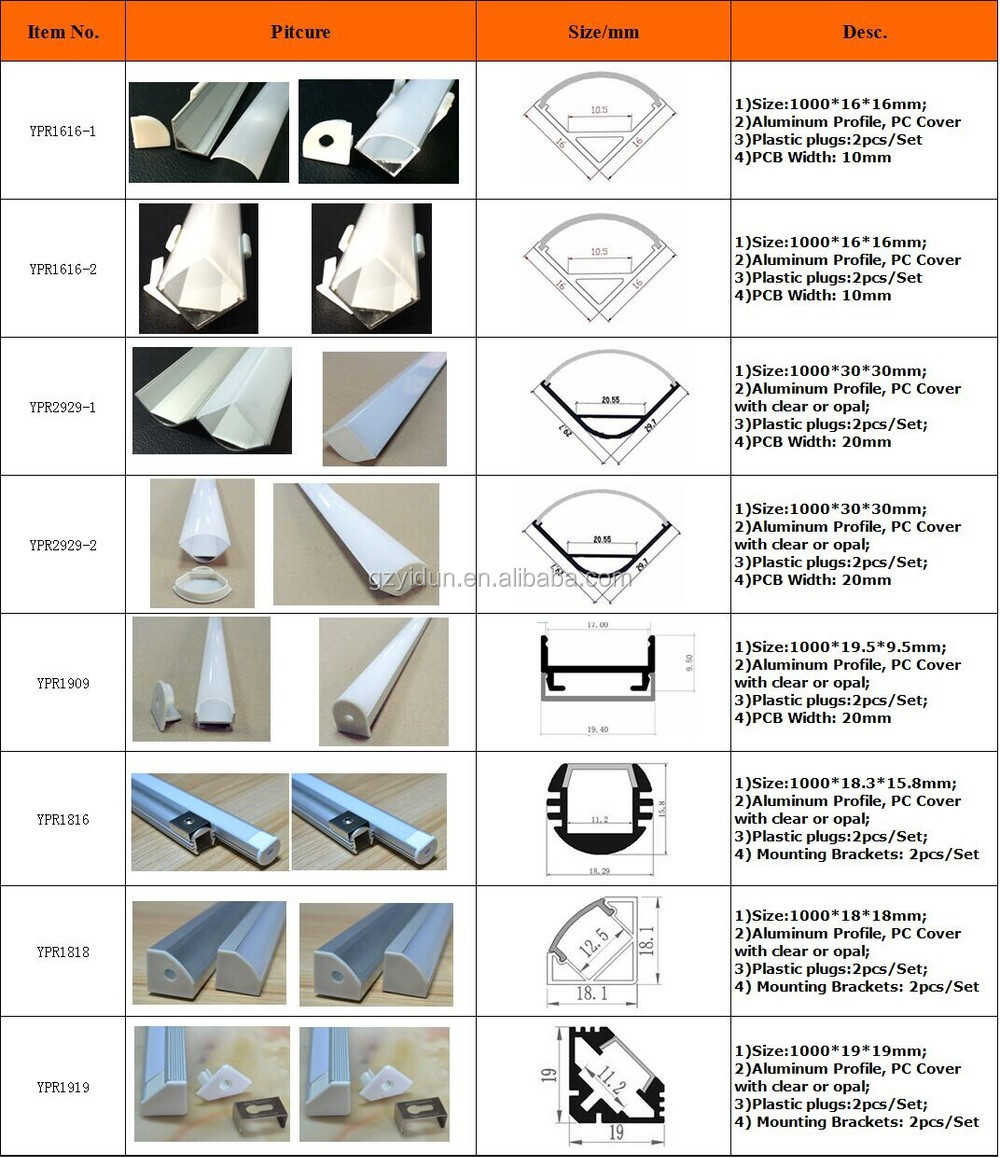 Types Of Aluminum Profiles/led Aluminum Profiles