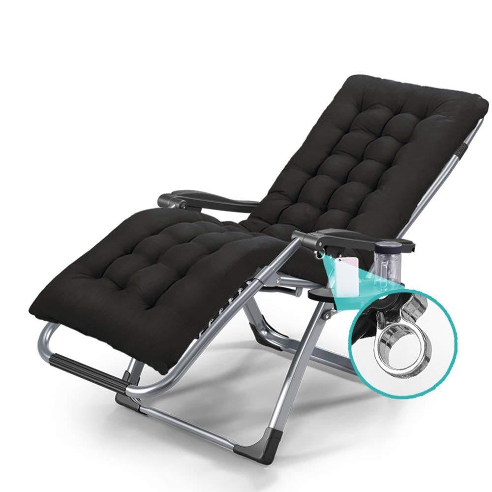 ZHIRONG Folding Chair Summer Deck Chair, Siesta Chair, Portable Armchair, Adjustable Sun Loungers, Garden Chairs, Beach Chairs, Balcony Chairs, Removable Cotton Pad (Color : Chair+Black Mat)