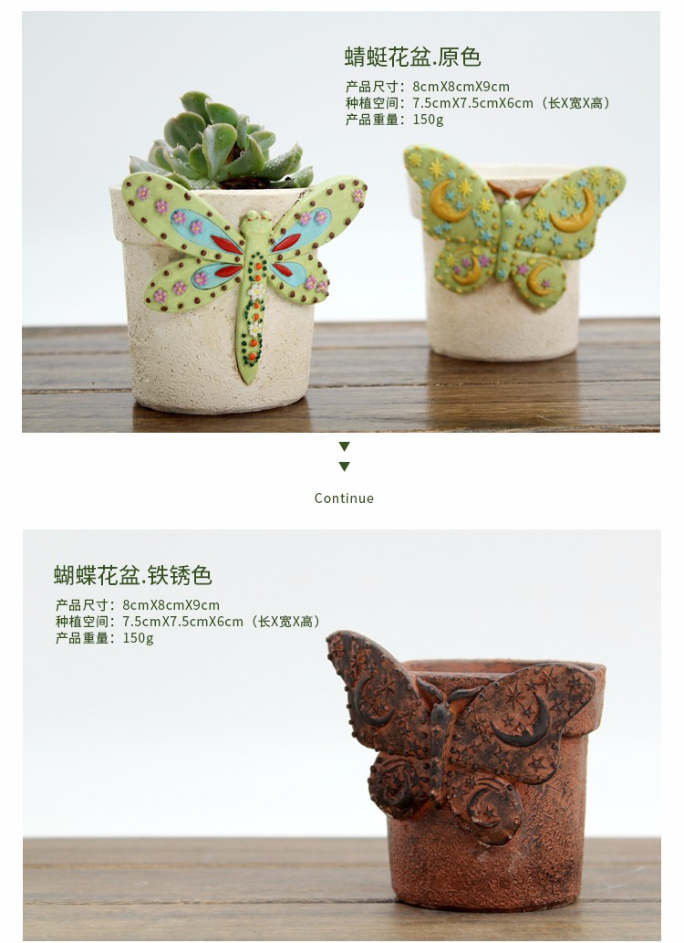 Roogo 2019 resin village animal mini flower pots