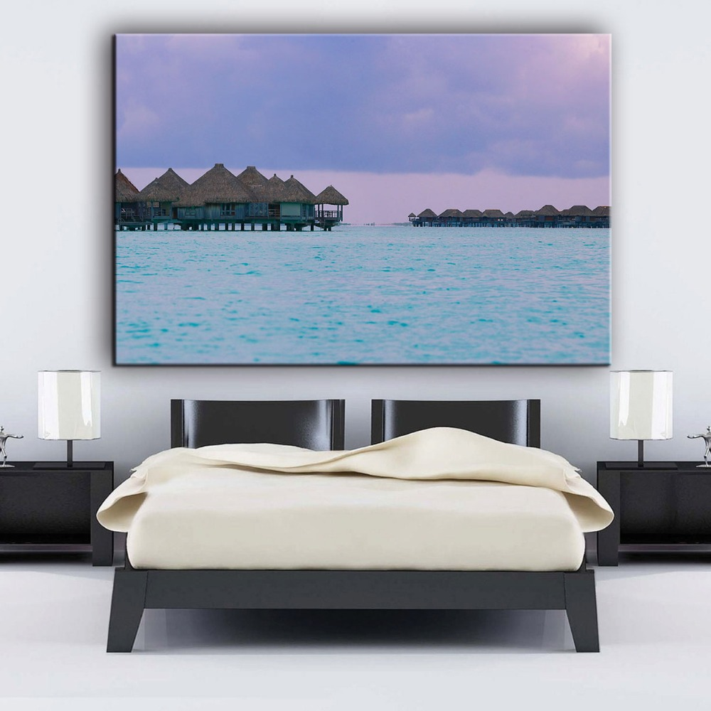 Blue sea outdoor waterproof canvas art photo printing painting wholesale