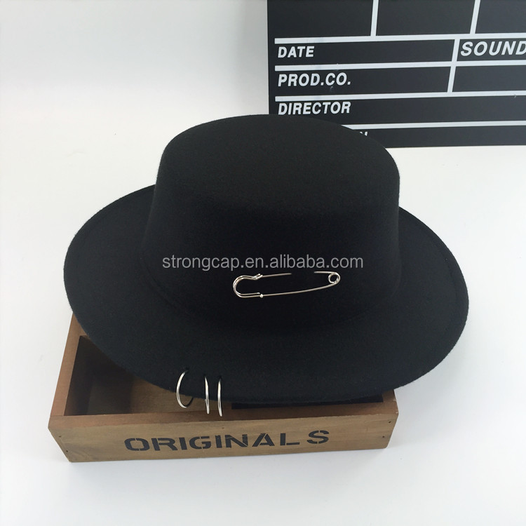 100% wool high quality winter wool felt bucket hat with pin
