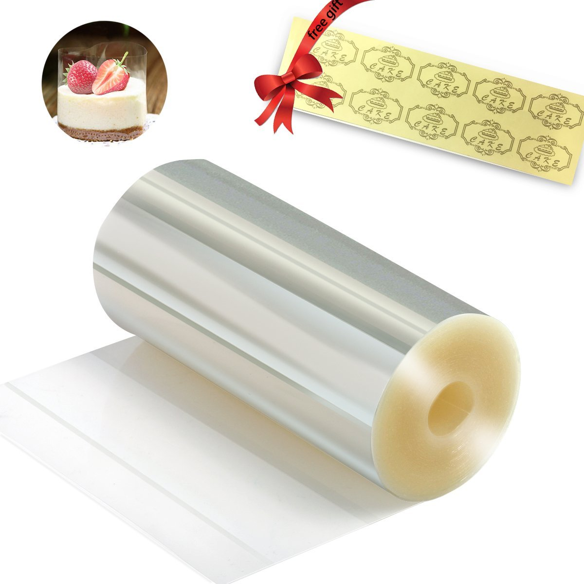 Cake Collars 3.9 x 394inch - Butefo Clear Cake Strips, Transparent Cake Rolls, Mousse Cake Collar for Chocolate Mousse Baking, Cake Decorating