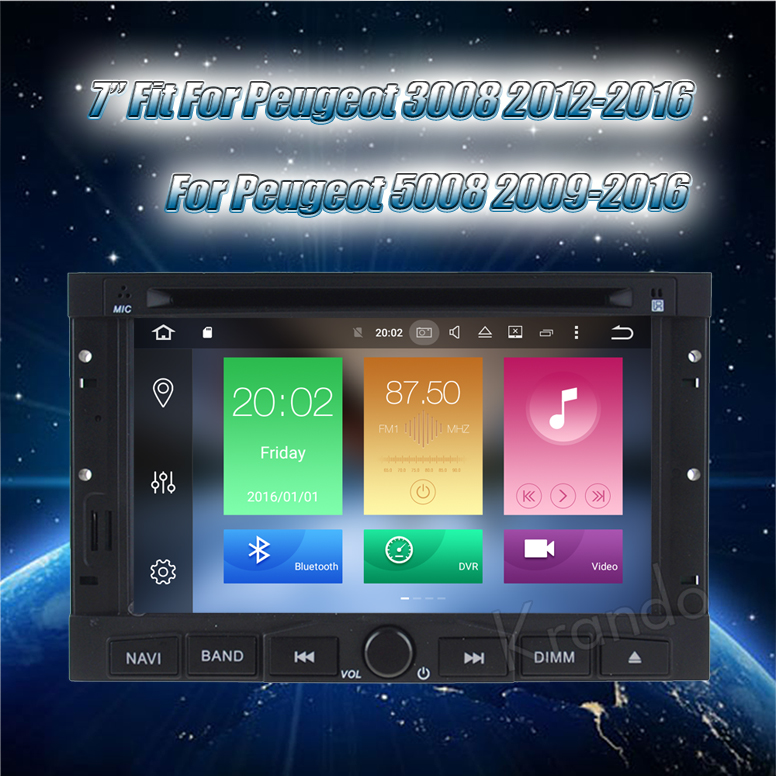 Krando Android 8.0 car radio for peugeot 3008 5008 2008-2012 for Citroen Berlingo 2010-2017 car navigation KD-PG708