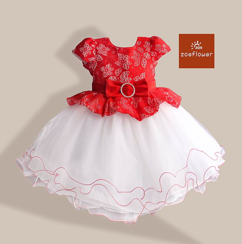 Zoeflower Girl Dresses 10233 Chinese Style Lace Flower Gauze TUTU Dress Princess Dresses Girl performing Dress