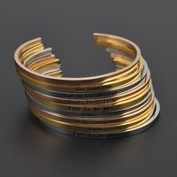Wholesale Engraved Inspirational Stainless Steel Bracelet Jewelry ,Custom Women Gold Cuff Bangle Bracelets
