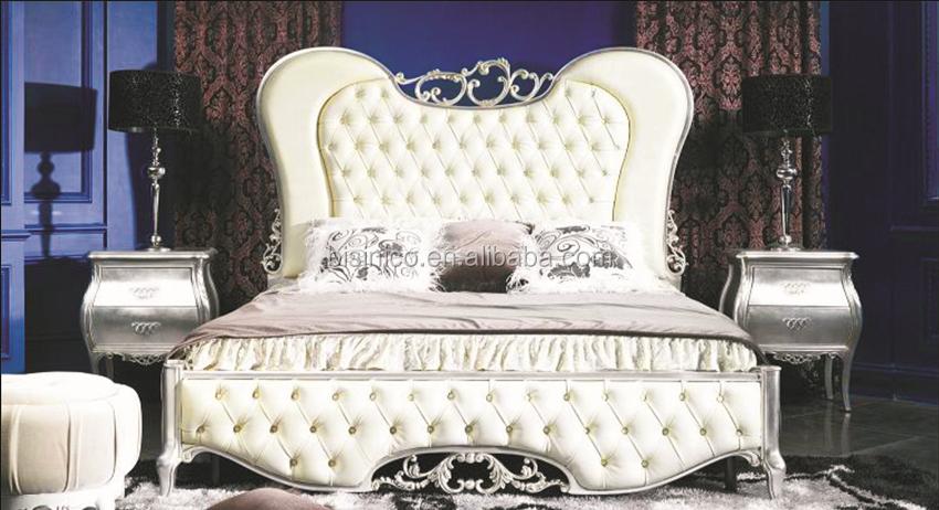 Ornate Design Series Wooden Bed Upholstered Luxury King Size European Royal Bedroom Furniture