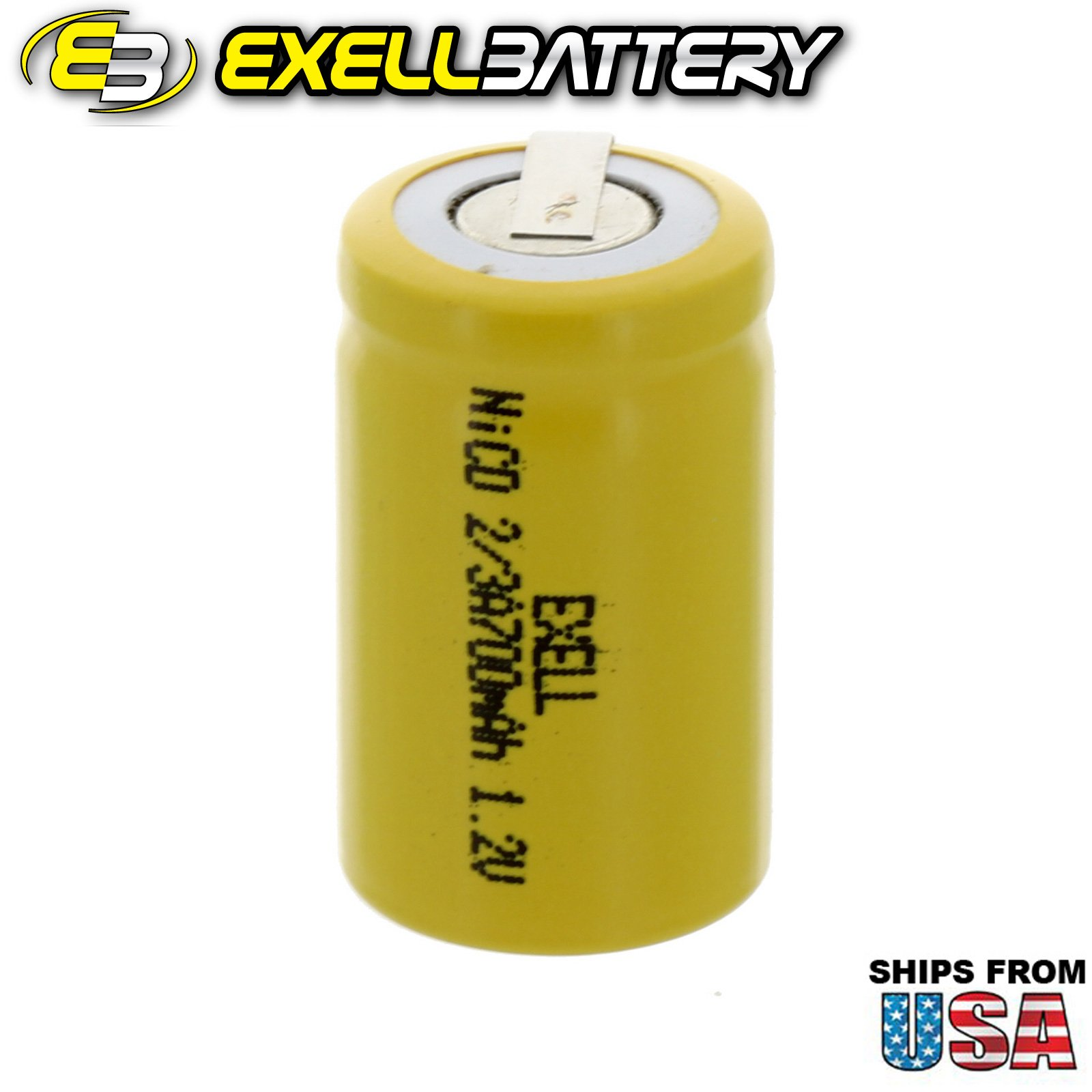 Exell 2/3A Size 1.2V 700mAh NiCD Rechargeable Battery with Tabs for meters, radios, hybrid automobiles, high power static applications (Telecoms, UPS and Smart grid), radio controlled devices
