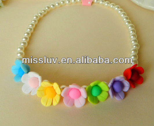 colorful solid flower round pearl bead necklace,sparkling bead necklace for little girl,costume bracelets jewelry set