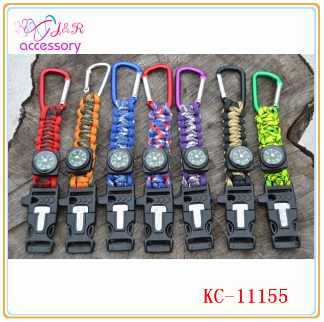 new arrival paracord carabiner keychain with compass and firestarter