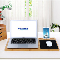 Bamboo Lap Desk with Built-in Mouse Pad and Cellphone Stand Holder