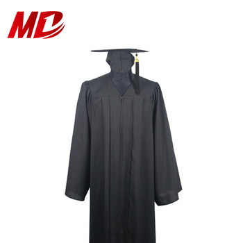 Wholesale Black Matte Polyester Graduation Gown And Cap