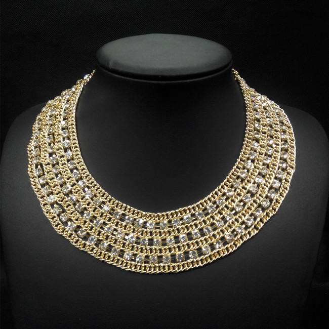 Fashion high collar beaded necklaces, wholesale wide choker necklaces, beaded gold collar necklace
