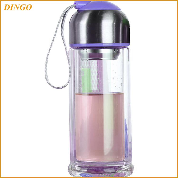 Borosilicate Glass Water Bottle/Glass Sports Water Bottle with hang ring / Glass Travel Water Bottle with silicone sleeve 350ml