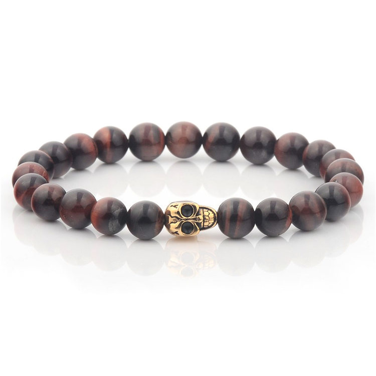 Men Custom Spiritual Metal Bead Gold Skull Bracelet