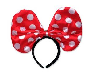 Party Costume Accessory Christmas Party Light Up Minnie Mouse Flashing LED Polka Dots Spots Bow Hairband Ribbon Headband Event Costume Hair Hoop - Red