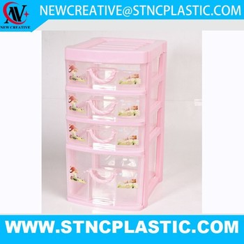 Pink Clear 4 Layers Plastic Table Drawers Organizer Chest Home Office Storage Box