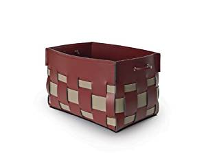 VALISETA: Laundry basket, Laundry box, Laundry bag, in leather, seams with handmade, Made in Italy