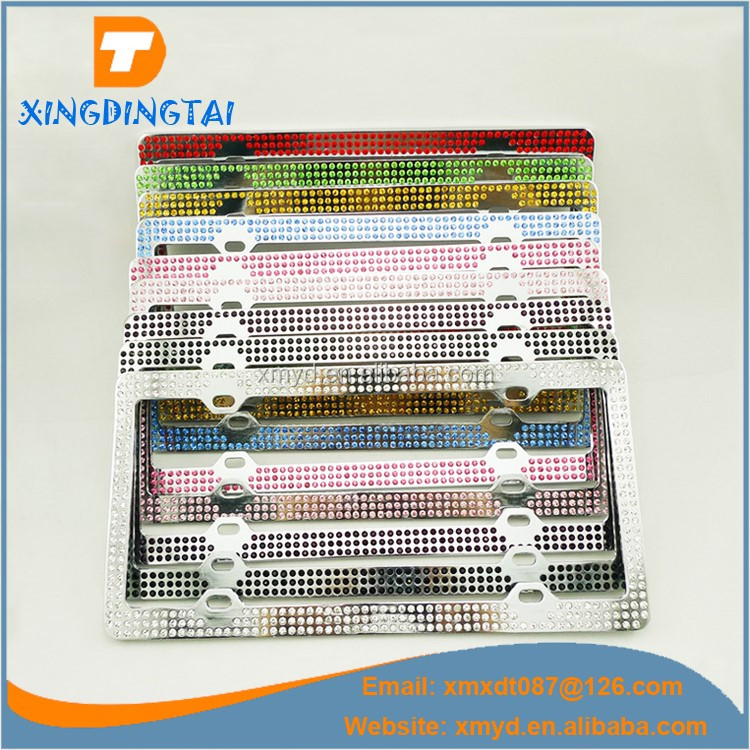 Zinc Alloy Metal License Plate Frame With Rhinestone For US Cars