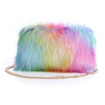 c3d59ac18db 2018 New Fashion Faux Fur Fluffy Chain Handbag Evening Party Lady ...