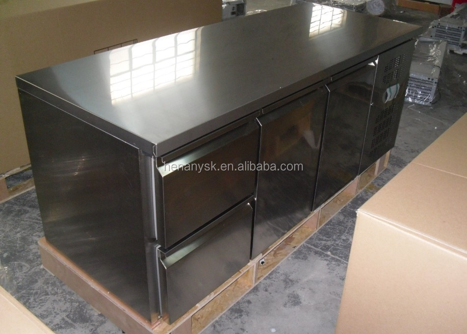 Commercial Horizontal Stainless Steel Air Cooling Refrigerator Drawer Cabinet Refrigerated Table Console