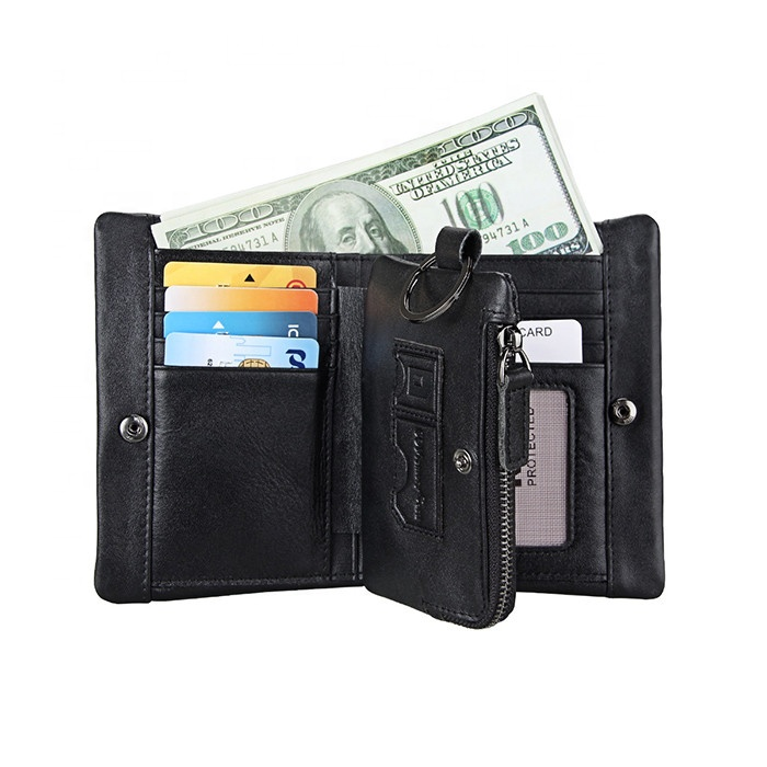 Crazy Horse Leather Men Leisure Short Wallet Retro RFID Blocking Bifold Coin Wallet